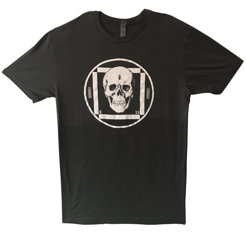 Test Card Skull t-shirt - gray with light hand-dyed black rinse