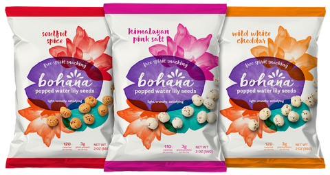 Bohana Popped Water Lily Seeds 2oz Bags- 3 Flavors