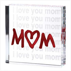 I Love You Mom Glass Cube