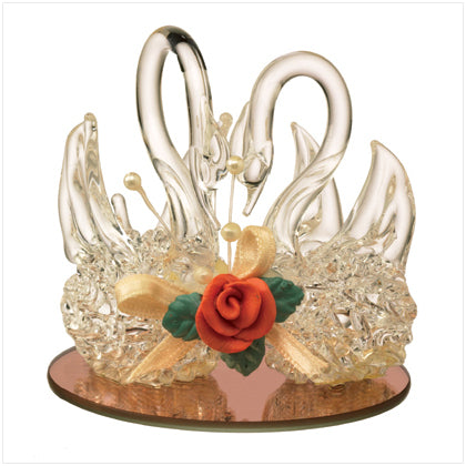 Spun Glass Twin Swans