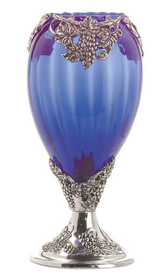 Silver Plated Blue Glass Grapevine Vase