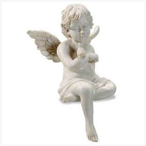 Sitting Cherub With Bird