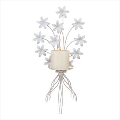 Metal White Floral Candleholder