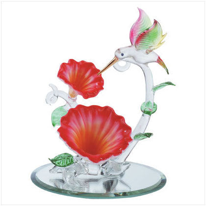 Spun Glass Hummingbird with Flowers