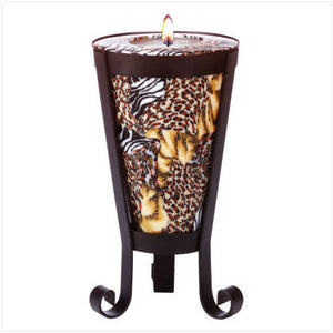 Safari Pattern Cone Shaped Candle and Holder