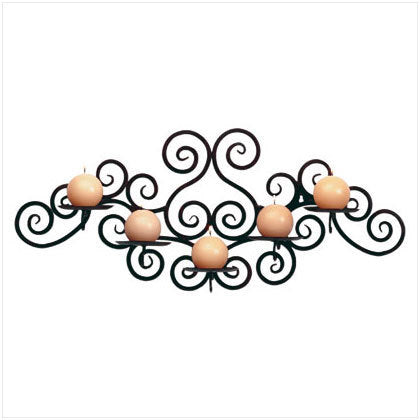 Wrought Iron Swirl Wall 5 Candle Holder