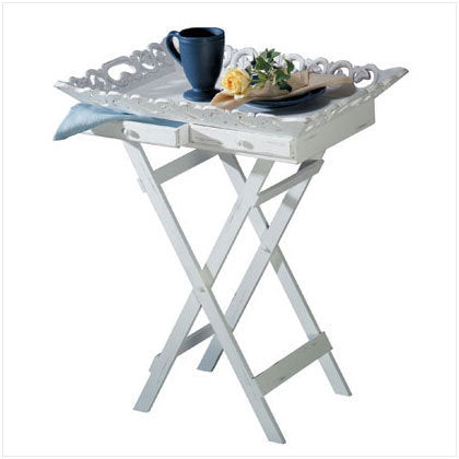 Distressed White Wood Tray Table