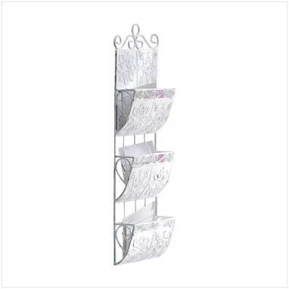 Distressed White Metal Hanging Letter Holder