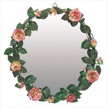 Metal Rose Wall Mirror