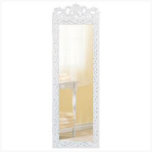 Distressed White Wood Mirror