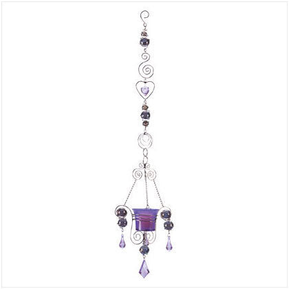 Purple Glass Ball Votive Holder