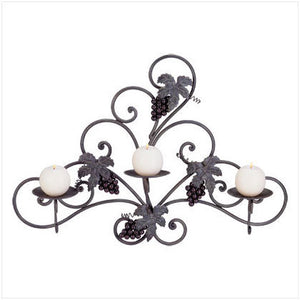 Metal and Grapes Wall Candle Holder