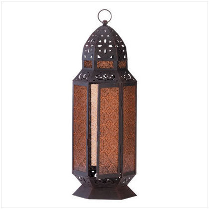 Moroccan Design Amber Glass Candle Lantern