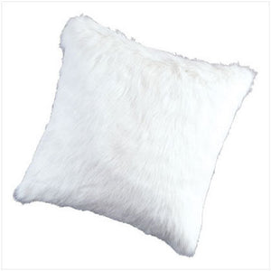White Faux Fur Pillow - 17 ""