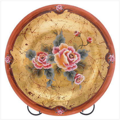 Rose Painted Glass Plate