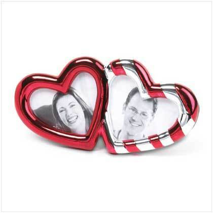 Red Stripes Hearts Photo Frame