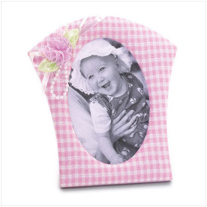 Pink Gingham Fabric Photo Frame