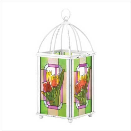 Tulip Stained Glass Lantern