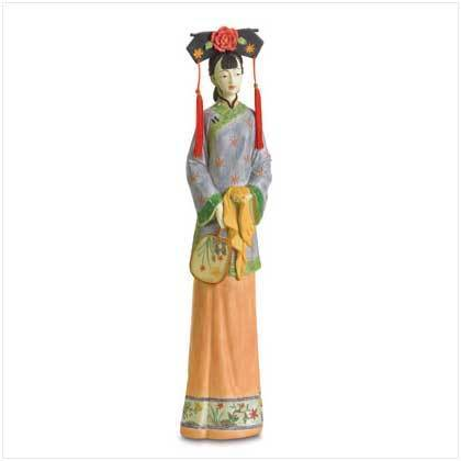 Qing Dynasty Girl with Fan Figure