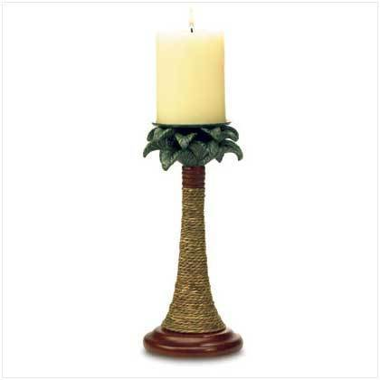 Rattan Styled Palm Tree Candle Holders