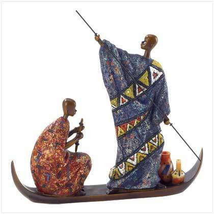 Masai On Boat Figurine