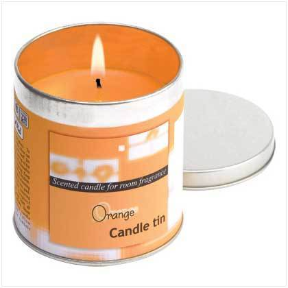 Orange Votive Candle In Tin