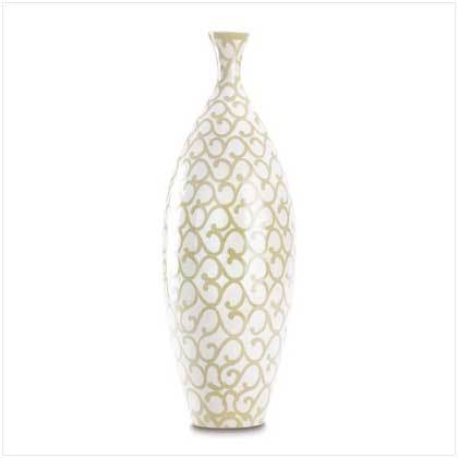 Tall Ivory Scrollwork Vase