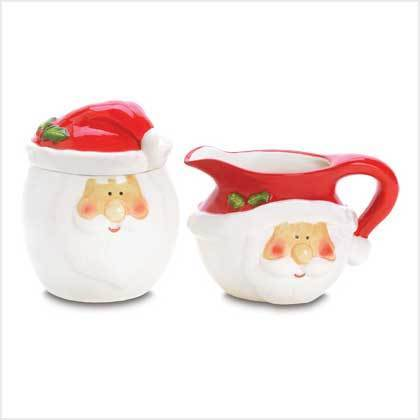 Smiling Santa Sugar and Creamer