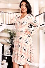 Long Sleeve Pattern Print Dress