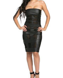 Black Textured Faux Leather Dress