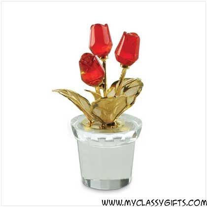 Mini Glass Red Roses In Pot