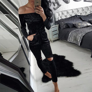 Elegant Off Shoulder Velvet Jumpsuit Women Slim Overalls Rompers Casual Long Pants Ladies Jumpsuits Romper 5 Colors GV442