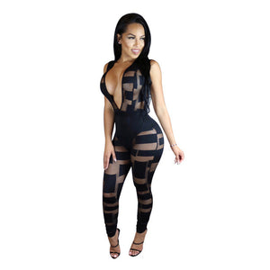 Deep V-neck Party Bodycon Jumpsuit