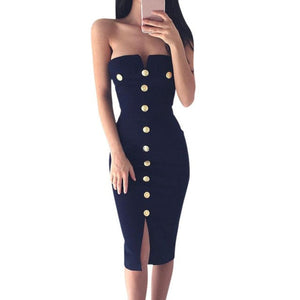 Fashion Spring Ladies Womens Sexy Off Shoulder Button Bodycon Dress Sexy Split Bodycon Pencil Cocktail Knee-Length Party Dress