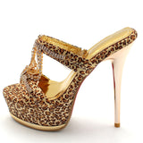 ENMAYER New Fashion Shoes Women Sandals Sexy Rhinestones Leopard Platform High Heels Sandals Party Platform Sandals Shoes