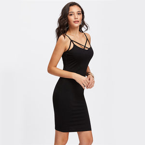 COLROVIE Strappy Black Cami Dress Cross Front 2017 Women Bodycon Summer Party Dresses Fashion Elegant Slim Club Mini Slip Dress