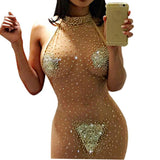 2017 Backless Elastic Women Short Party Dresses Bodycon Sexy Shiny Dress Halter Neck Night Club Dress Vestido De Festa Curto 5XL