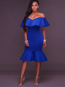 Blue Falbala Women's Party Dress