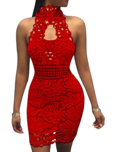 Turtle Neck Halter Women's Lace Dress