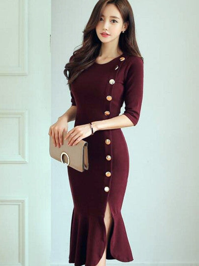 Red Fishtail Half Sleeve Women's Bodycon Dress