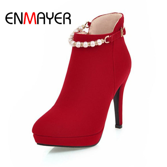 ENMAYER  Women Shoes Flock Platform  Zipper High Heels String Bead Solid  Round Toe Thin Heels Party Dress Red Boots