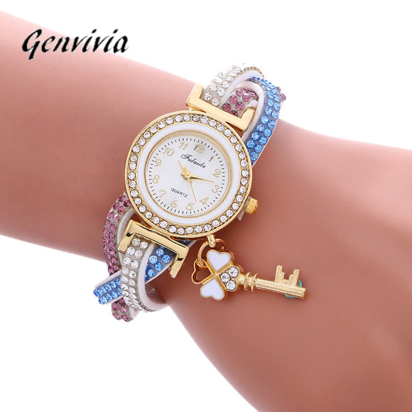 Fashion Leather Wrap Around Fashion Padlock Diamond Bracelet Lady Womans Wrist Watch