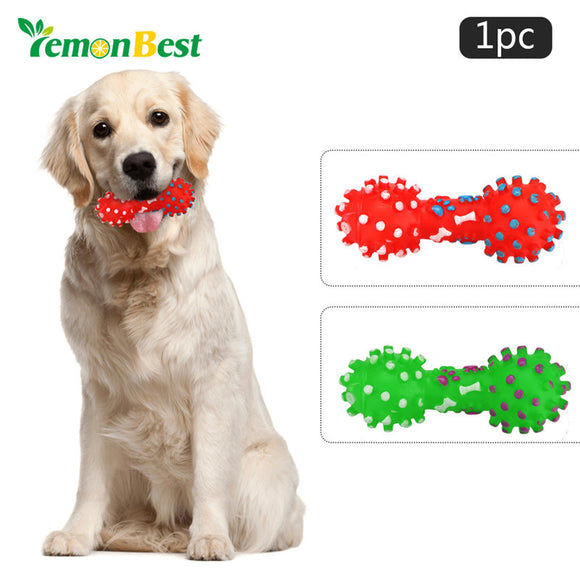 LemonBest Dog Toys Colorful Dotted Dumbbell Shaped Dog Toys Pet Puppy Chew Squeaker Squeeze Squeaky Pet Chew Toys For Dogs Cats