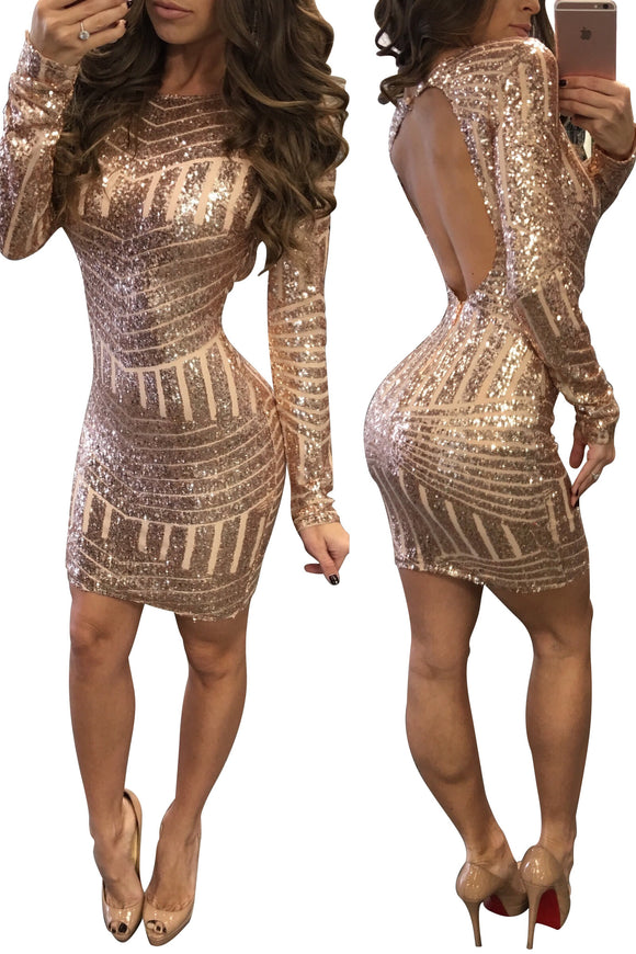Women Sequins Dress with Sleeves Sexy Backless Dress