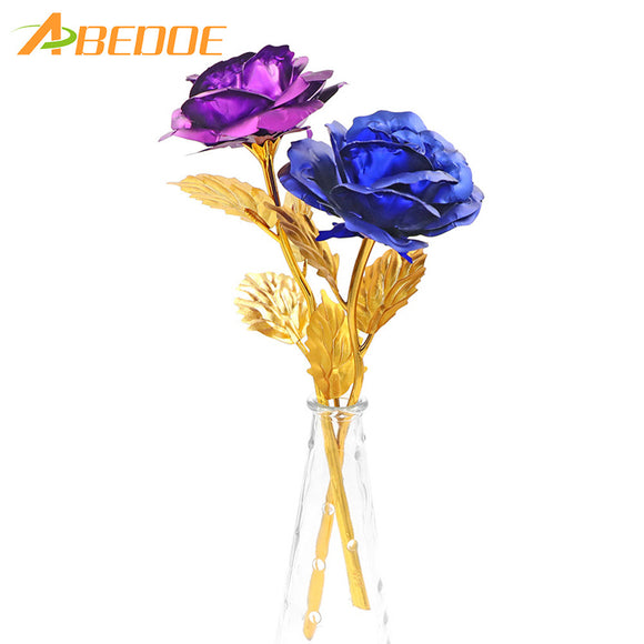 Valentine's Day Women's Gift 24K Gold Plated Rose Flower Decoration Artificial Flowers Romantic For Mother's Day Girl Friend