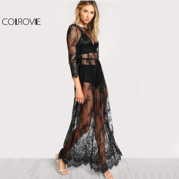 COLROVIE Black Sheer Floral Lace Maxi Dress High Waist Sexy Women Buttoned Split Back Party Dress 2017 Ladies Beach Long Dress