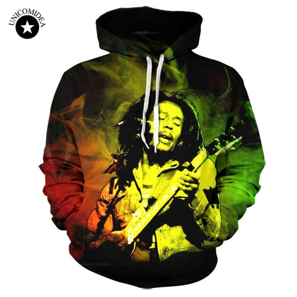 Unicomidea Bob Marley 3D  Reggae Star Printed Hoody Hoodie Custom Made Clothing Men/Women Streetwear
