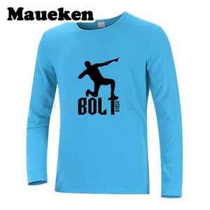 Men's UGO Usain Bolt Lightning Jamaica T-Shirt Long Sleeve 100M Sprint Record Holder Champion Tee T SHIRT Autumn Winter W1125130