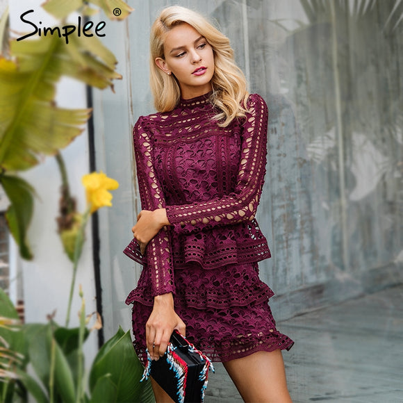 Simplee Elegant hollow out ruffle lace dress Women vintage long sleeve slim short dress Sexy christmas party dress vestidos