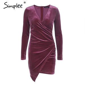 Simplee Velvet soft deep v neck bodycon dress Vintage autumn winter sexy dress women long sleeve Christmas party dress vestidos